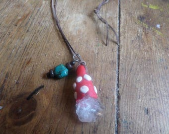 Gnome hat Necklaces with quartz crystal and turquoise