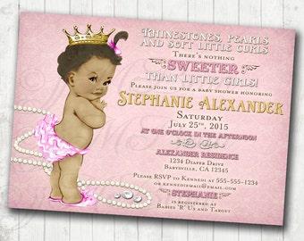 Girl Baby Shower Invitation For Girl African American - DIY Printable