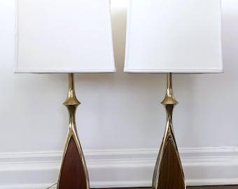 Pair Laurel Brass & Walnut Sculptural Lamps