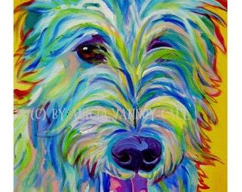 Irish Wolfhound, Pet Portrait, DawgArt, Dog Art, Pet Portrait Artist, Colorful Pet Portrait, Irish Wolfhound Art, Art Prints