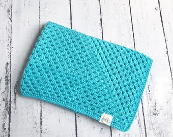 Crochet lavender or aqua security blanket, soft, newborn.