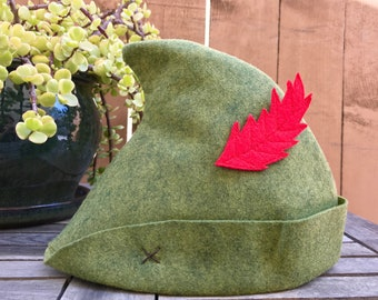 Olive Green Peter Pan Hat with Red Felt Feather