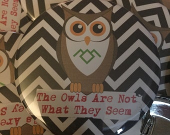 "The Owls Are Not What They Seem 2.25"" pin"