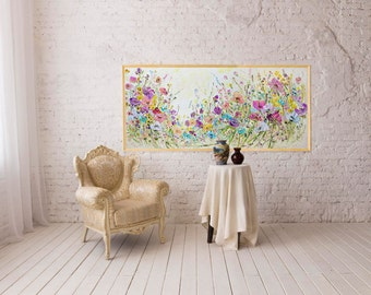 Large Painting Long Narrow Art Long Painting Big Poster Big Painting Extra Large Wall Art Summer Print Poster Original Giclee on Canvas
