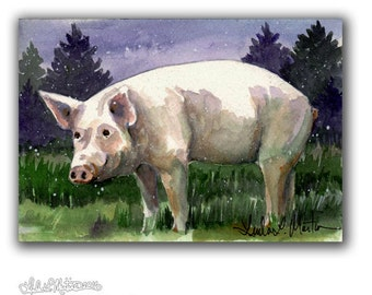 Pig Hog Warm Winter Flurries LLMartin Original Watercolor Painting- Virginia Country