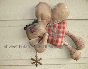 Primitive Flying Gingerbread Fairy Doll ePattern Ornament Ornie Instant Download