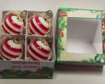 4 Striped Dolls House Miniature Christmas Tree Baubles In A Box