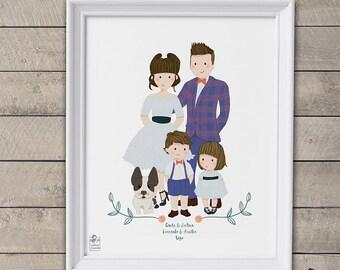 Pepis Print. Custom family portrait illustration.