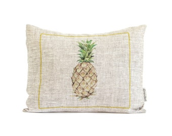Pineapple Pillow, Pineapple Decor, Tropical Throw Pillow, Gift For Mom, Kitchen Decor, Pineapple Gifts, Rustic Linen, Gift for Mom, Pillows