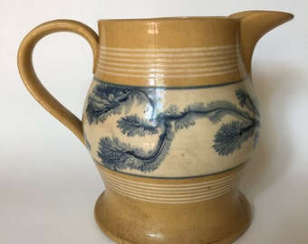 Antique Yellow Ware Mocha Pitcher Decorated w/ Blue Seaweed - 1800's