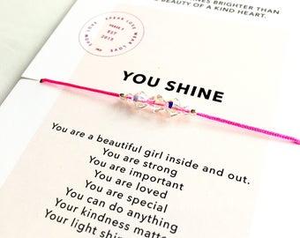 CHILDRENS crystal bracelet/ Inspirational Jewelry/ Layering Bracelet/ Friendship Bracelet/ Girl Power Jewelry Gift