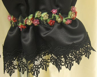 Black Matte Satin, Adult Bloomers, Pantaloons, Knickers w/ Black Lace & Sheer Floral Ribbon Trim, Size S