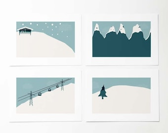 4 Winter illustrated postcards. Vintage postcard style. Winter landscape. Gifts for skiers. Winter holiday cards.