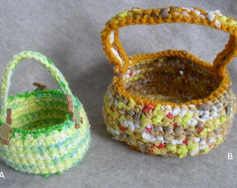Crochet Carry Baskets: recycled Plarn Yarn Easter Basket, rabbits mix yarn,