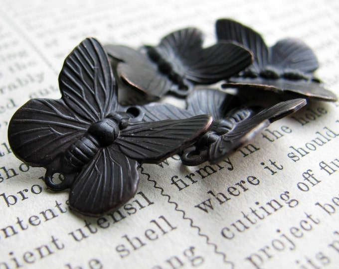 Black butterfly links, 14mm x 18mm, black patina, 4 double connectors, winged insect, upturned wings, antiqued brass, black butterflies