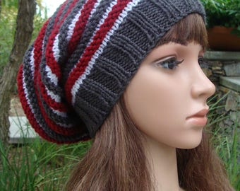 DIY- Knitting PATTERN #33: Striped Slouchy Hat Pattern, Striped Slouchy Pattern, Slouchy Pattern, Instant Download PDF Digital Pattern