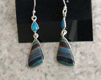 Rainbow Calsilica and Opal Earrings