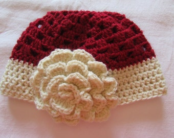 Girls Crocheted Hat - Fall Hat - Maroon hat with Flower - Granny Square Hat - Crocheted Beanie