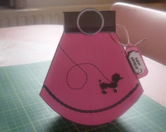1950s pink poodle skirt wobble card