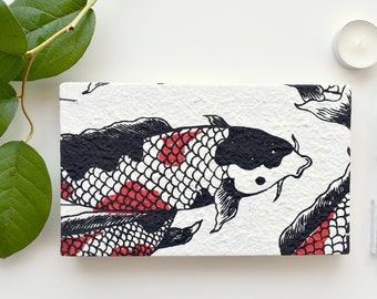 Koi fish blank page sketchbook - coptic bound - 50 pages - 5x8.5 inches