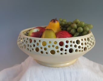 Decorative Bowl - green - Fruit Bowl - Stoneware bowl - North Carolina Pottery