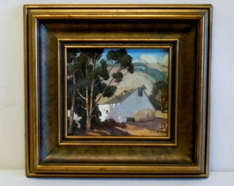 Ralph Holmes Central Coast California Landscape Barn Country Scene Oil on Board Painting Listed American Artist