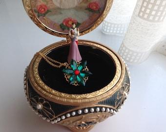 Anastasia necklace together in Paris Charm Necklace Replica Flower Emerald Ruby Romanov Replica Handmade
