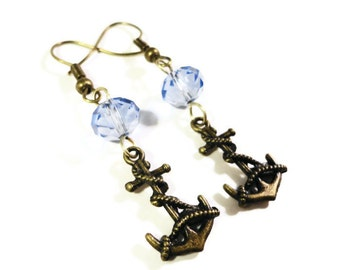 Anchor Charm Earrings, Natuical Earrings, Periwinkle Blue Crystal Bead Earrings, Beaded Dangle Earrings, Drop Earrings, Beadwork Jewelry