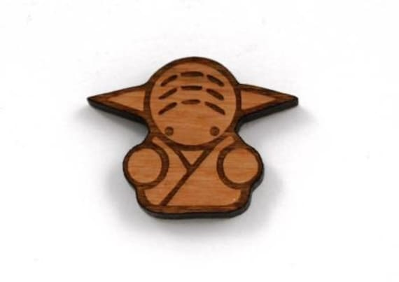 Laser Cut Supplies- 1 Piece.Yoda Charms - Cherry Wood Laser Cut Yoda -Brooch Supplies- Little Laser Lab Sustainable Wood Products