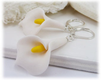 Arum Calla Lily Dangle Earrings - White Natural Calla Lily Earrings