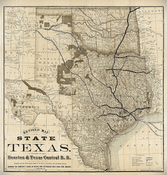 Old Map of Texas 1876 Vintage Historical Wall map Antique