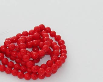 Sale 10 jade beads Red 8mm - Ref: PJ 2093