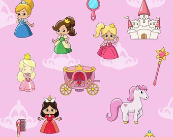 Princess clipart, princess clip art, princess party, pony, castle, fairytale, cinderella, clip art, clipart, carriage, princesses, cute