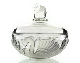 Walther Glass Swan Candy Dish with Lid.