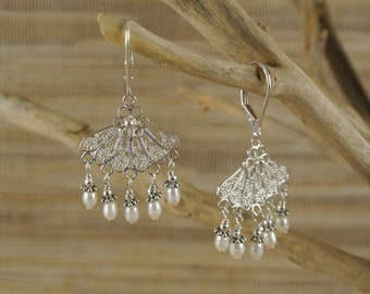 Sterling Silver Filigree and White Freshwater Pearl Earrings