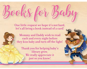 Beauty and the Beast Baby Shower Books for Baby Card - Beauty and the Beast Books for Baby Card - Cute Belle - Immediate Digital Download