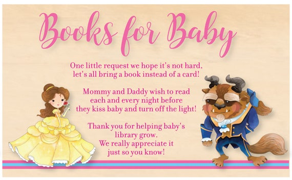 Amazing Beauty And The Beast Baby Shower Books For Baby Card Beauty