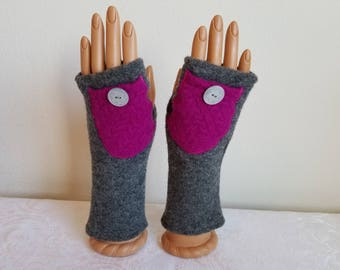Bright Pink Pocket Fingerless Gloves on a Gray Wool Background