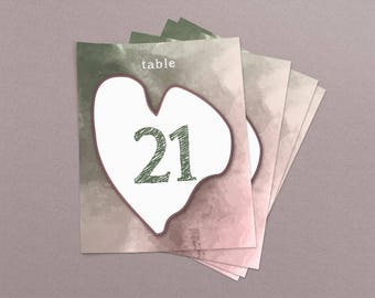 Watercolor Dusty Pink Green Wedding & Event Table Numbers, Printable Table Numbers 1-30, Instant Download