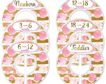 Custom Baby Closet Dividers Pink and Gold Nursery Baby Girl Clothes Organizers Baby Shower Gift Baby Girl by Mumsy Goose