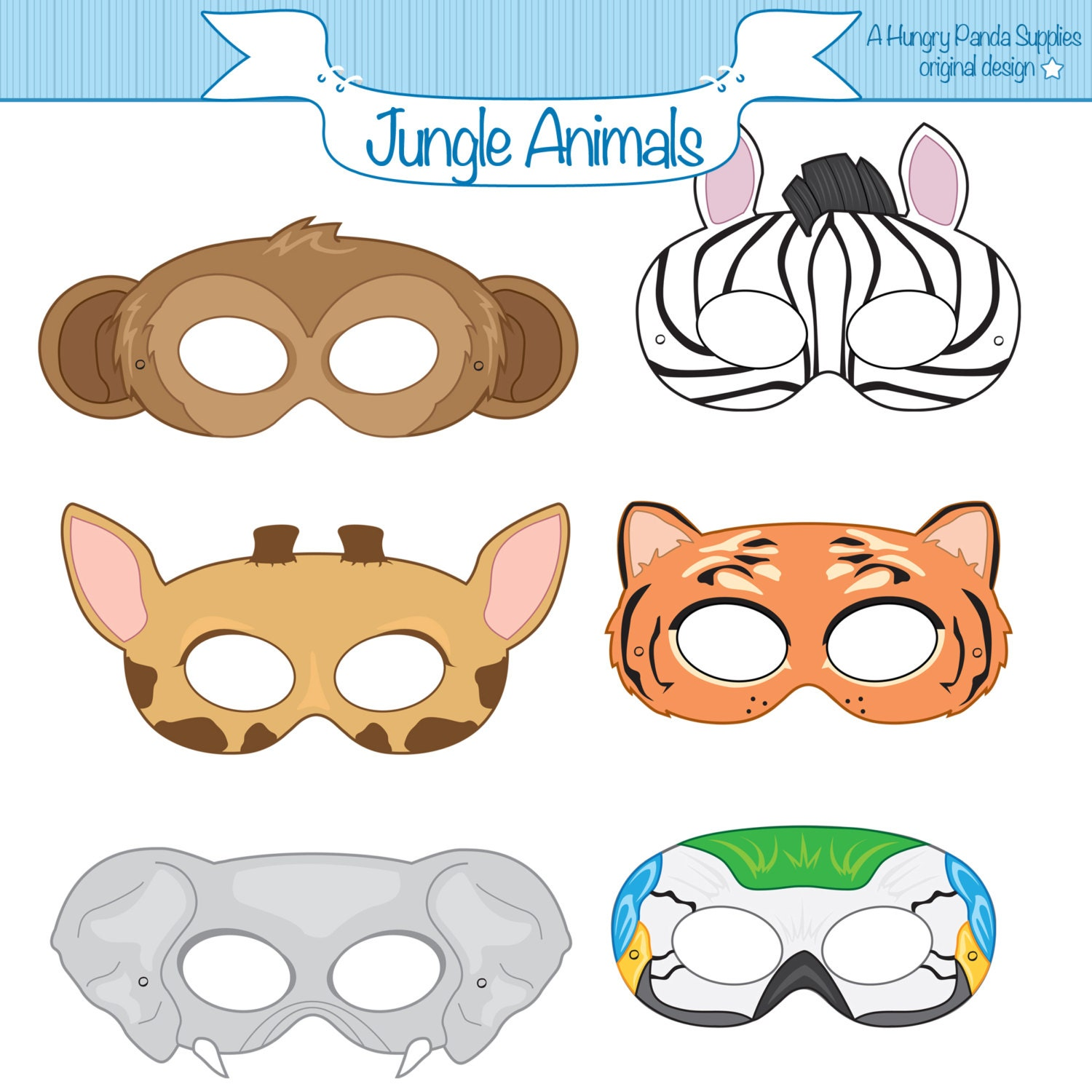 This is a photo of Juicy Printable Jungle Animals