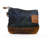 Waxed Canvas Zippered Golf Valuables Field Pouch in Black Watch Tartan  personalized monogrammed