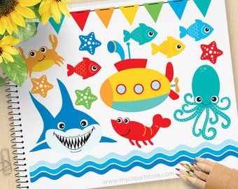 Under the Sea (#2) Clipart, Shark, Submarine, starfish, crab, octopus, bunting, beach, summer, Commercial Use, Vector clip art, SVG Cut