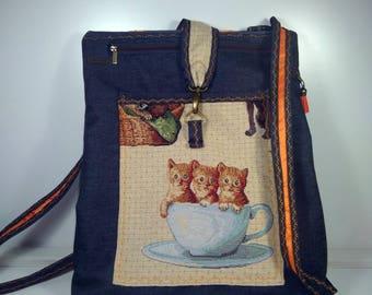 Bag-backpack, woman backpack, kittens, backpack denim, bag-backpack adjustable, pocket kittens, C, Orreas edged, gifts young girls
