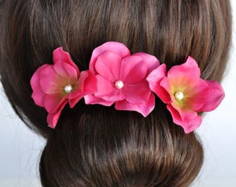 Set of 3 Handmade Fuchsia Hydrangea Flower Hair or Bobby Pins, Bridal, Wedding (Pearl-394)