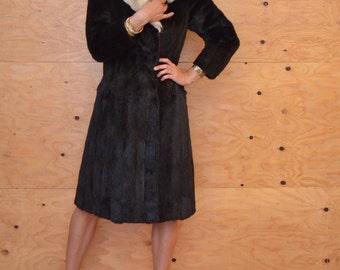 Vintage 50's Dark Brown Fur Coat With White Fox Fur Collar SZ M