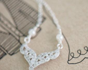 Crystal bridal necklace, Teardrop Wedding necklace, Bridal jewelry, Cubic zirconia necklace, Pearl necklace, Bridesmaid necklace Flower girl