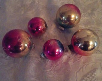 """Vintage Lot Of 5 Ombre Mercury Glass Christmas Ornaments Shiny Brite Three  3"""" T Two 2"""" Pink Gold Blue USA Decorating Crafts Tree"""