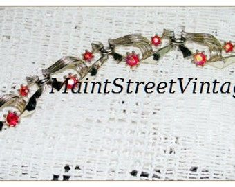 S&G 5th Ave Silver and  Iredescent Rhinestone Ribbon Bracelet
