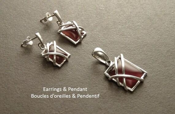 Amethyst, Earrings Pendant Set - Silver Jewelry - Sterling Silver - Square Shape Stone - Amethyst color Stone- 925 Jewelry - Women, Gift